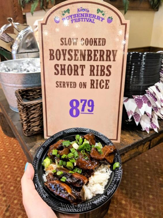 Knott's Berry Farm Boysenberry Short Ribs served on Rice