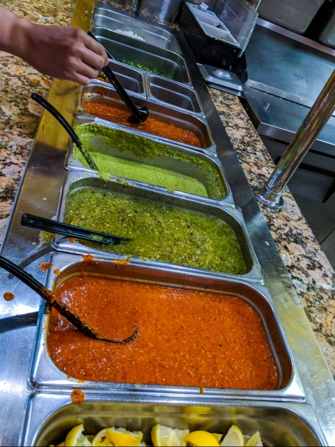 Salsa bar at Taqueria 2 Portrillos