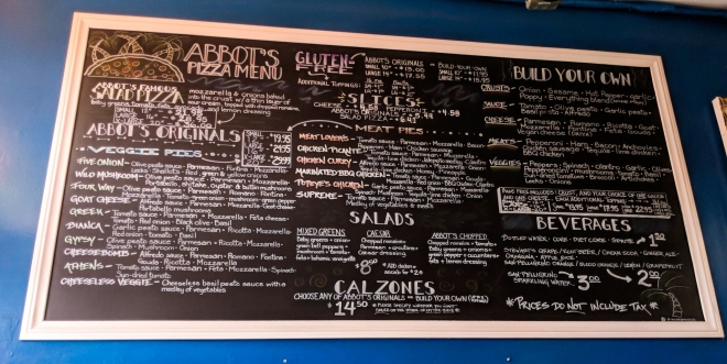 Abbot's Pizza Menu